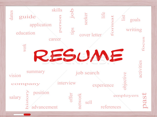 Resume Word Cloud Concept on a Whiteboard Stock photo © mybaitshop