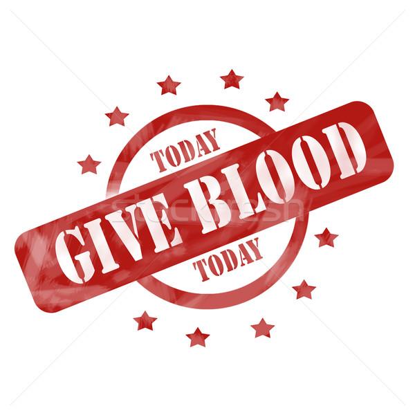 Vermelho resistiu dar sangue hoje carimbo Foto stock © mybaitshop