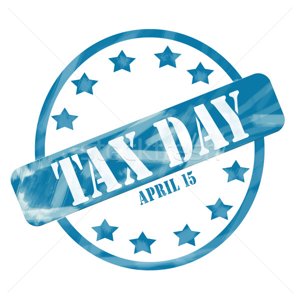 Blue Weathered Tax Day April 15th Stamp Circle and Stars Stock photo © mybaitshop