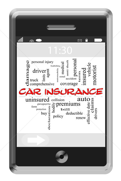 Car Insurance Word Cloud Concept on Touchscreen Phone Stock photo © mybaitshop