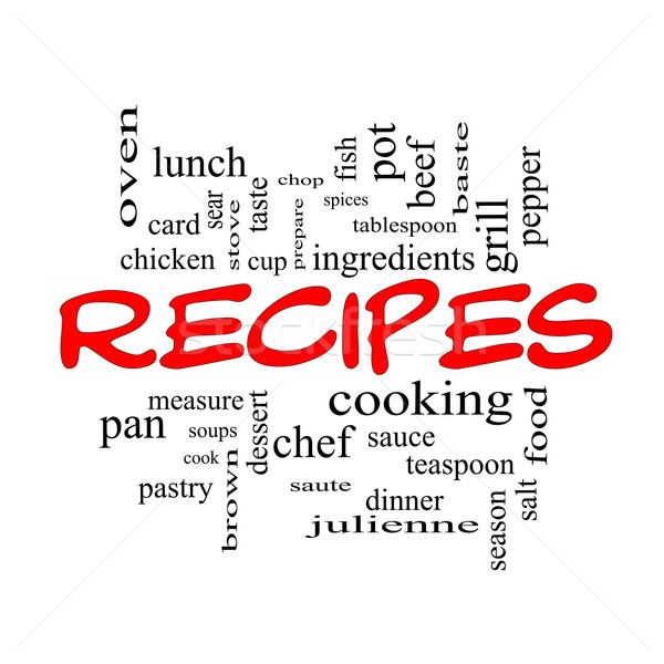 Recipes Word Cloud Concept in red caps Stock photo © mybaitshop