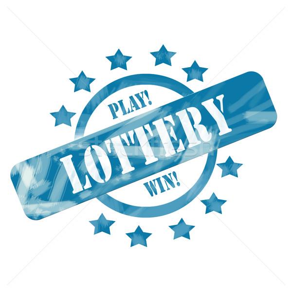 Blu intemperie lotteria timbro cerchio stelle Foto d'archivio © mybaitshop