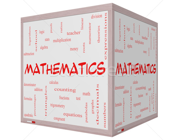 Mathematics Word Cloud Concept on a 3D cube Whiteboard Stock photo © mybaitshop