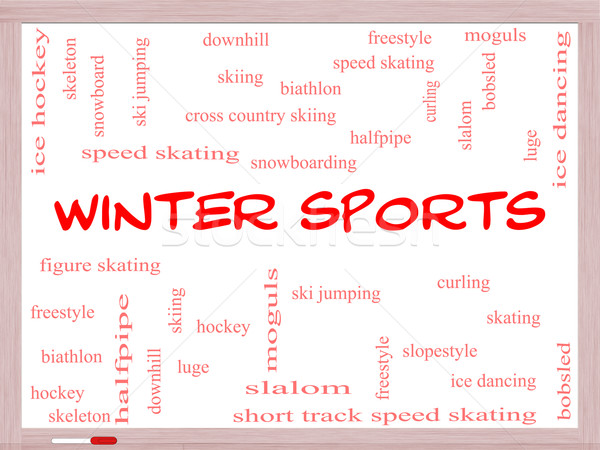 Stock photo: Winter Sports Word Cloud Concept on a Whiteboard