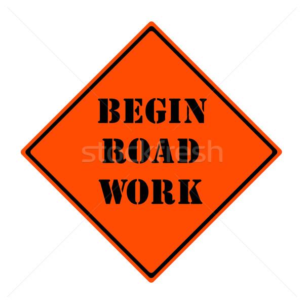 Yol çalışmak imzalamak turuncu siyah elmas Stok fotoğraf © mybaitshop
