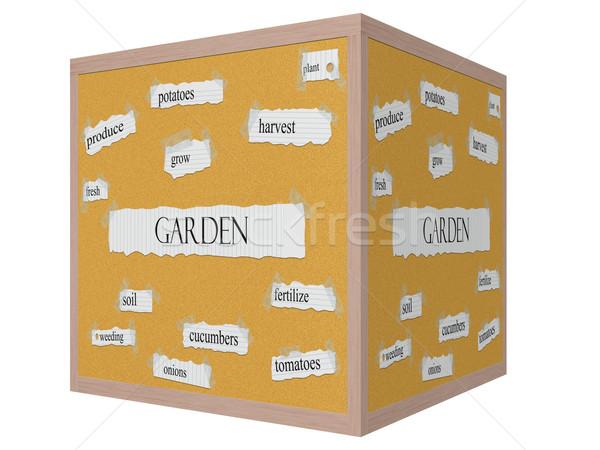 Garden 3D cube Corkboard Word Concept Stock photo © mybaitshop