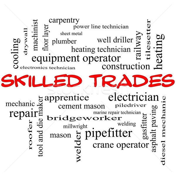 Skilled Trades Word Cloud Concept in red caps Stock photo © mybaitshop