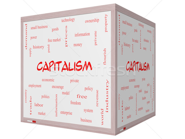 Capitalism Word Cloud Concept on a 3D cube Whiteboard Stock photo © mybaitshop