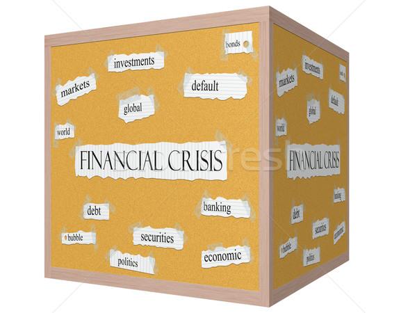 Crise financeira 3D cubo palavra mercados Foto stock © mybaitshop