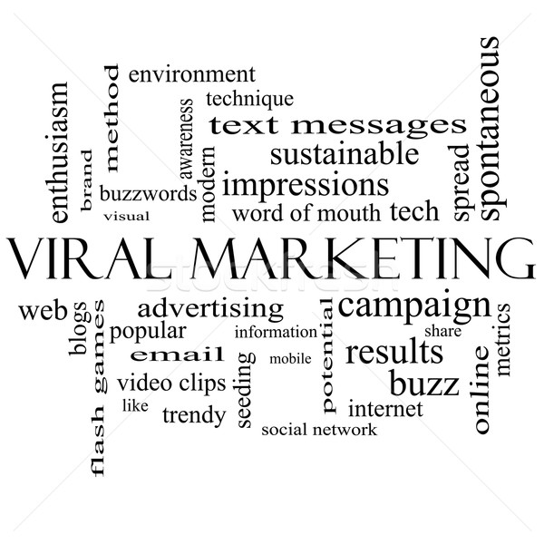 Virale marketing word cloud bianco nero buzz Foto d'archivio © mybaitshop