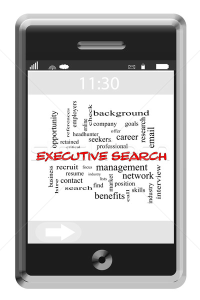 Executive Search Word Cloud Concept on Touchscreen Phone Stock photo © mybaitshop