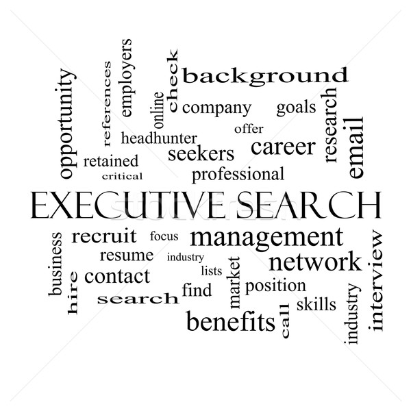 Executive Search Word Cloud Concept in black and white Stock photo © mybaitshop