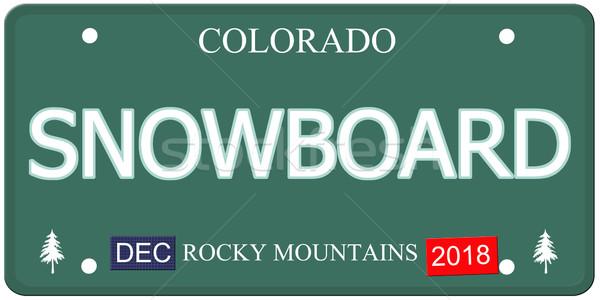 Stok fotoğraf: Snowboard · Colorado · plaka · sahte · kelime
