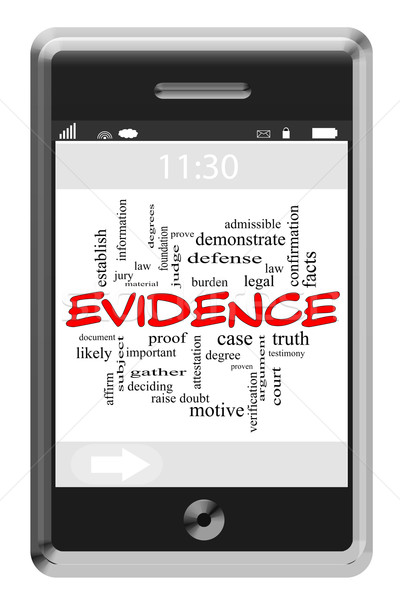 Evidence Word Cloud Concept on Touchscreen Phone Stock photo © mybaitshop