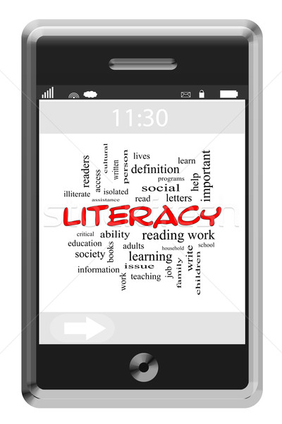 Literacy Word Cloud Concept on Touchscreen Phone Stock photo © mybaitshop