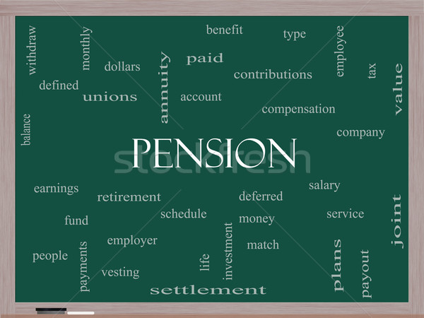 Pension Word Cloud Concept on a Blackboard Stock photo © mybaitshop