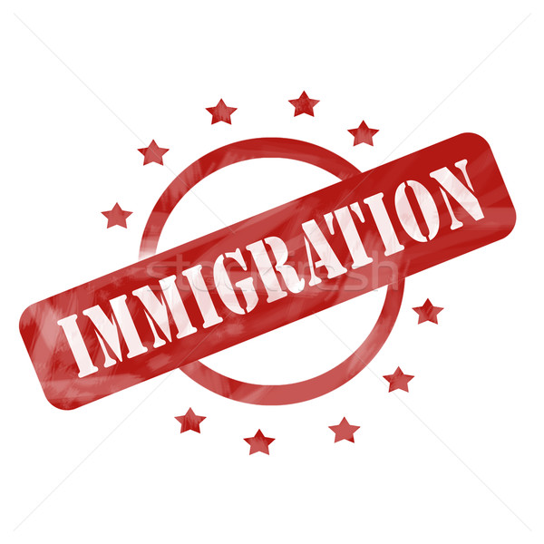 Red Weathered Immigration Stamp Circle design Stock photo © mybaitshop