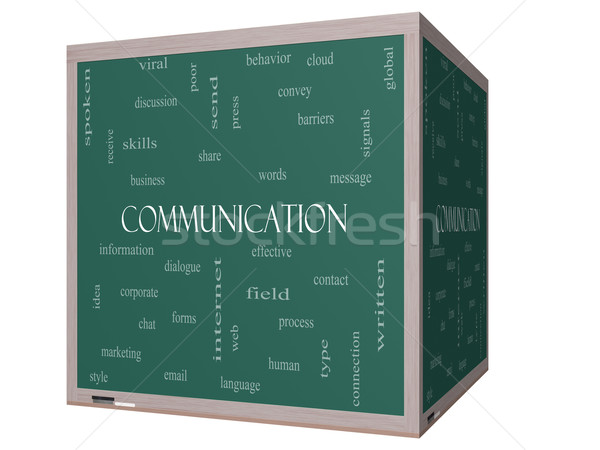 Communication Word Cloud Concept on a 3D cube Blackboard Stock photo © mybaitshop