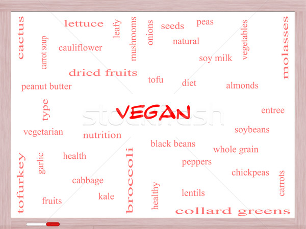 Vegan Word Cloud Concept on a Whiteboard Stock photo © mybaitshop
