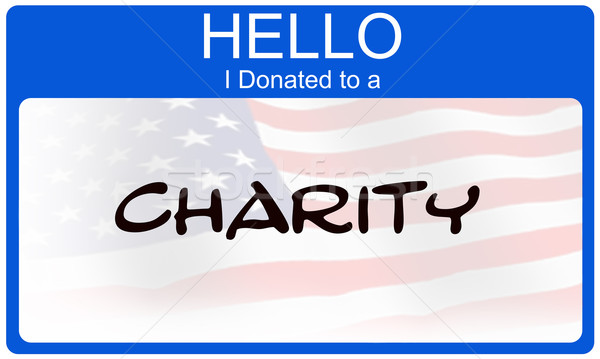 Bonjour œuvre de bienfaisance drapeau américain nom vignette Photo stock © mybaitshop