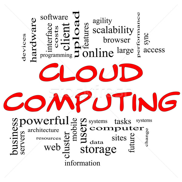 Cloud Computing Word Cloud Concept in Red & Black Stock photo © mybaitshop