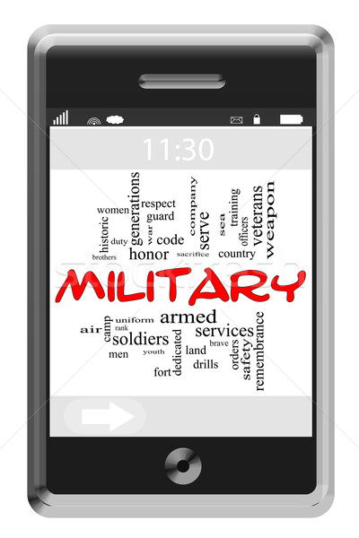 Military Word Cloud Concept on Touchscreen Phone Stock photo © mybaitshop