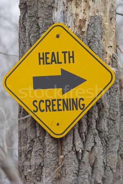 Egészség erre citromsárga felirat fa mutat Stock fotó © mybaitshop
