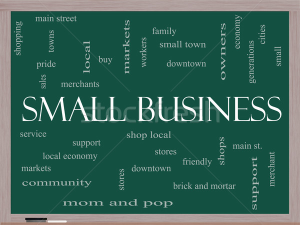 Small Business Word Cloud Concept on a Blackboard Stock photo © mybaitshop