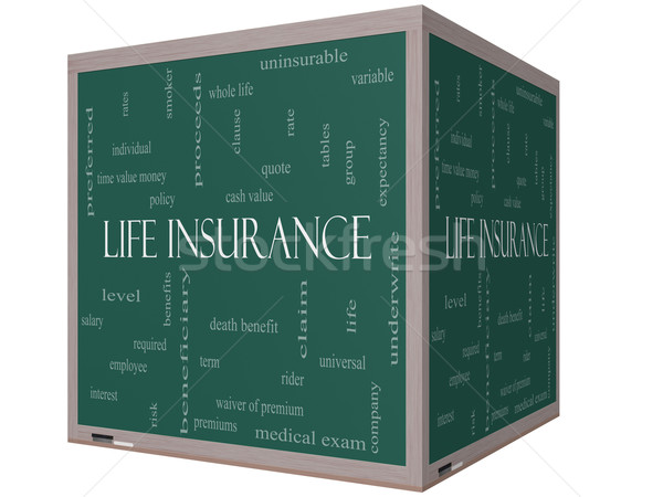 Life Insurance Word Cloud Concept on a 3D Cube Blackboard Stock photo © mybaitshop