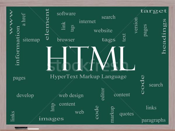 Html chmura słowo tablicy tekst język Zdjęcia stock © mybaitshop