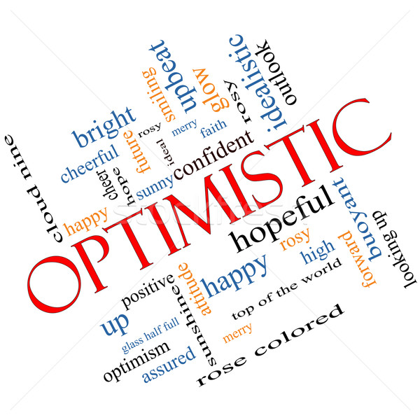 Optimistic Word Cloud Concept Angled Stock photo © mybaitshop