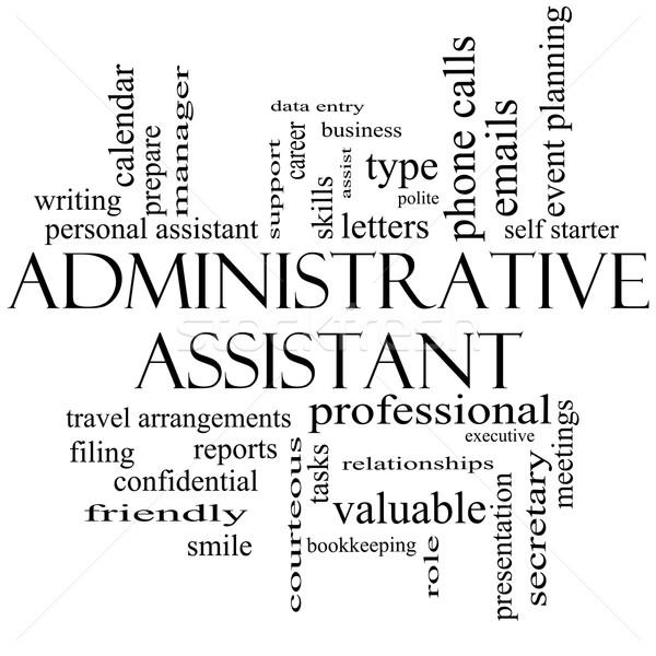 Administratief assistent woordwolk zwart wit groot professionele Stockfoto © mybaitshop