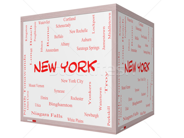 New York State Word Cloud Concept on a 3D cube Whiteboard Stock photo © mybaitshop