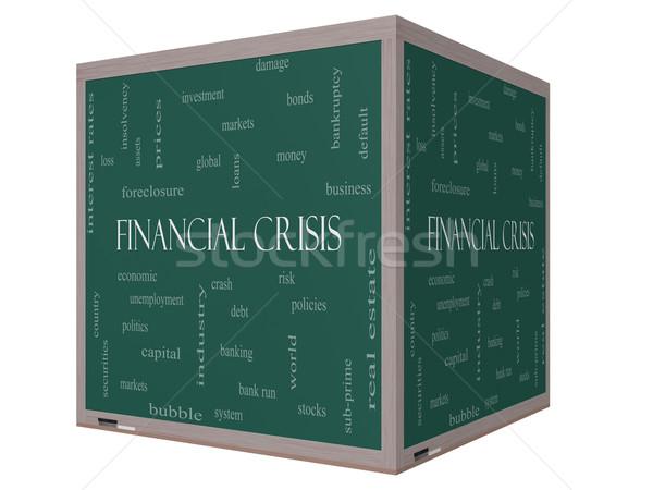 Crisi finanziaria word cloud 3D cubo lavagna Foto d'archivio © mybaitshop