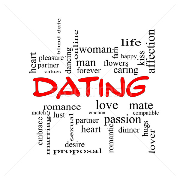 Dating Word Cloud Concept in red caps Stock photo © mybaitshop