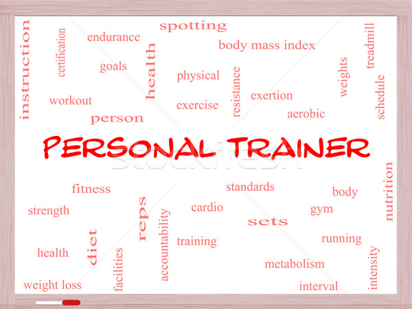 Personal Trainer Word Cloud Concept on a Whiteboard Stock photo © mybaitshop