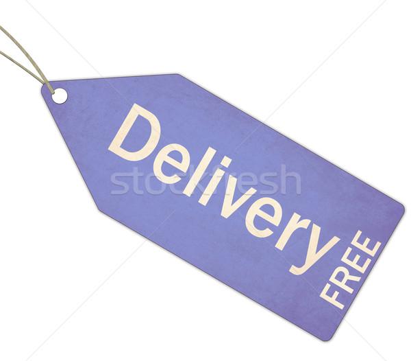 бесплатная доставка синий тег строку белый Сток-фото © mybaitshop