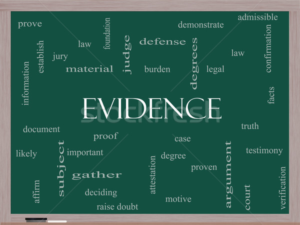 Evidence Word Cloud Concept on a Blackboard Stock photo © mybaitshop