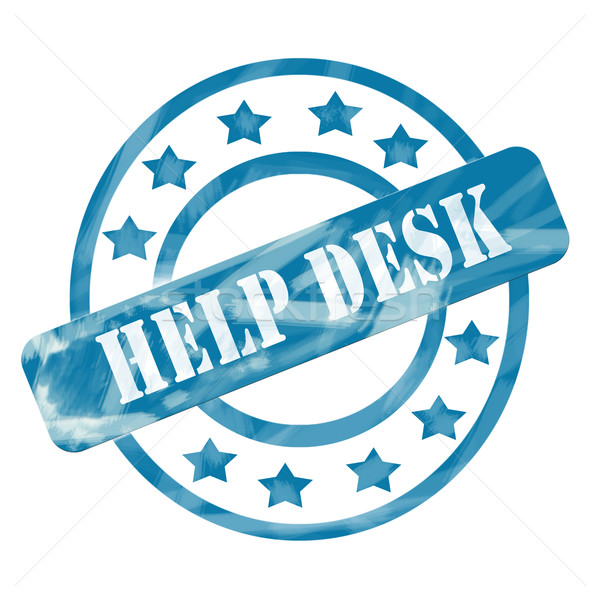 Stock photo: Blue Weathered Help Desk Stamp Circles and Stars
