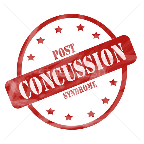Red Weathered Post Concussion Syndrome Stamp Circle and Stars Stock photo © mybaitshop