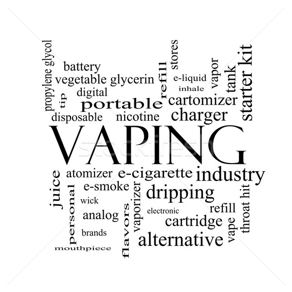 Vaping Word Cloud Concept in black and white Stock photo © mybaitshop