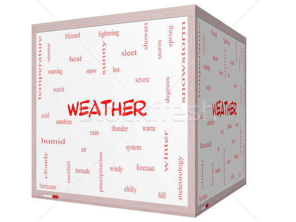 Weather Word Cloud Concept on a 3D cube Whiteboard Stock photo © mybaitshop