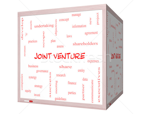 Joint Venture Word Cloud Concept on a 3D cube Whiteboard Stock photo © mybaitshop
