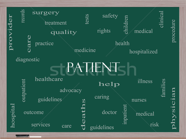 Patient Word Cloud Concept on a Blackboard Stock photo © mybaitshop
