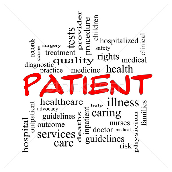 Patient Word Cloud Concept in red caps Stock photo © mybaitshop