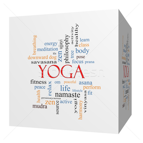 Yoga 3D cube Word Cloud Concept Stock photo © mybaitshop