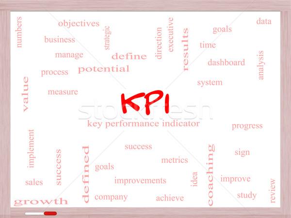 KPI Word Cloud Concept on a Whiteboard Stock photo © mybaitshop