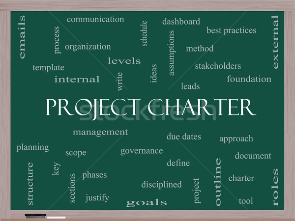 Project Charter Word Cloud Concept on a Blackboard Stock photo © mybaitshop