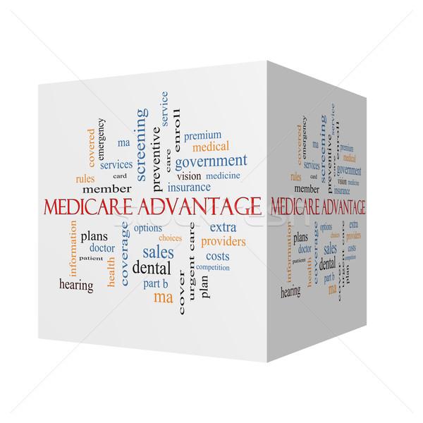 Avantage 3D cube nuage de mots magnifique Photo stock © mybaitshop