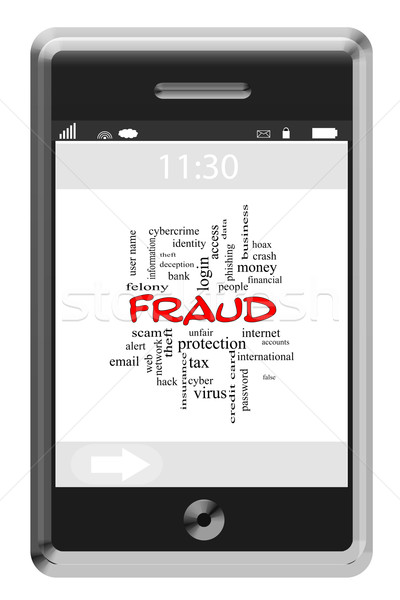 Fraud Word Cloud Concept on a Touchscreen Phone Stock photo © mybaitshop